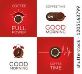coffee concept set. coffee and... | Shutterstock .eps vector #1205163799