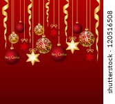 red card with christmas balls | Shutterstock . vector #120516508