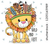 Stock vector cute cartoon tribal lion with feathers on a white background 1205165989