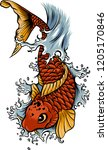 hand drawn outline koi fish and ... | Shutterstock .eps vector #1205170846