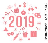 new year symbols. gifts ... | Shutterstock .eps vector #1205175433