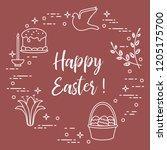 easter symbols. easter cake ... | Shutterstock .eps vector #1205175700