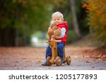 little toddler boy with teddy... | Shutterstock . vector #1205177893
