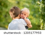 little toddler baby boy  crying ... | Shutterstock . vector #1205177953