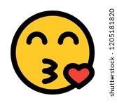 emoji blowing a kiss   Shutterstock .eps vector #1205181820