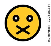 closed mouth emoji | Shutterstock .eps vector #1205181859