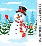 winter christmas background.... | Shutterstock .eps vector #1205186956