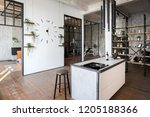 luxury studio apartment with a... | Shutterstock . vector #1205188366