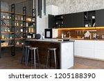 luxury studio apartment with a... | Shutterstock . vector #1205188390