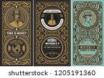 set of 3 vintage labels. vector ... | Shutterstock .eps vector #1205191360