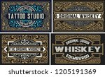 Stock vector set whiskey labes vector layered 1205191369