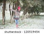 beautiful young woman walking... | Shutterstock . vector #120519454