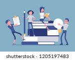 students with giant books.... | Shutterstock .eps vector #1205197483