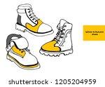isolated vector set of women's... | Shutterstock .eps vector #1205204959