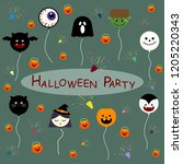 halloween party  with ghosts... | Shutterstock .eps vector #1205220343