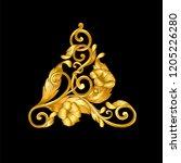 gold baroque frame scroll  | Shutterstock .eps vector #1205226280