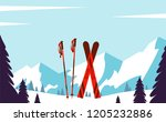 ski resort. winter landscape... | Shutterstock .eps vector #1205232886