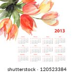 Calendar For 2013 With Tulips...