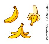 Set Of Cartoon Banana Drawings...