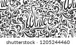 seamless calligraphic pattern... | Shutterstock .eps vector #1205244460
