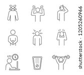 emotional stress linear icons... | Shutterstock .eps vector #1205260966