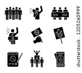 protest action glyph icons set. ... | Shutterstock .eps vector #1205260999