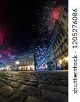 celebration city background... | Shutterstock . vector #1205276086