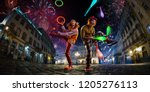 night street circus performance ... | Shutterstock . vector #1205276113