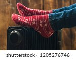 women's feet in christmas  warm ... | Shutterstock . vector #1205276746