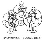 group of people sitting in sofa ... | Shutterstock .eps vector #1205281816