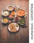 indian lunch   dinner main...   Shutterstock . vector #1205287636