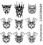 abstract tattoo masks stickers | Shutterstock .eps vector #1205288689