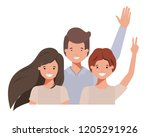 family smiling and waving... | Shutterstock .eps vector #1205291926