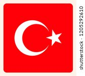 turkey square flag button ... | Shutterstock .eps vector #1205292610