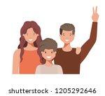 family waving avatar character | Shutterstock .eps vector #1205292646