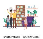 family in living room with... | Shutterstock .eps vector #1205292883