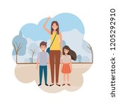 mom with children in landscape... | Shutterstock .eps vector #1205292910