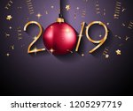2019 happy new year background... | Shutterstock .eps vector #1205297719