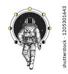astronaut spaceman cards. moon...   Shutterstock .eps vector #1205301643