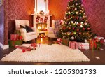 festively decorated apartment... | Shutterstock . vector #1205301733