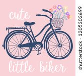 romantic bicycle with a basket... | Shutterstock .eps vector #1205302699