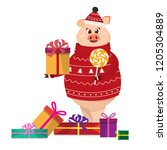 funny pig in christmas sweater...   Shutterstock .eps vector #1205304889