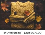 warm  knitted sweater and... | Shutterstock . vector #1205307100