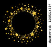 round wreath of gold stars on a ... | Shutterstock .eps vector #1205316559