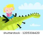 Little Girl Flying A Dragon...