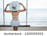 summer vacation concept  happy... | Shutterstock . vector #1205339203