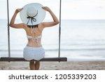 summer vacation concept  happy... | Shutterstock . vector #1205339203