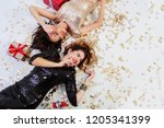 new  year party. two elegant ... | Shutterstock . vector #1205341399