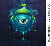 vector cartoon eye monster on a ... | Shutterstock .eps vector #1205347900