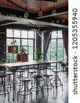 modern restaurant with hanging... | Shutterstock . vector #1205355940